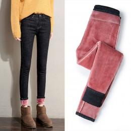 Plus aksamitne wysokiej talii dżinsy damskie spodnie Slim elastyczne ciepłe Vintage Jean Femme spodnie jeansowe ołówkowe 2019 gr
