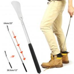 Długa rączka łyżka do butów elastyczny srebrny ze stali nierdzewnej stalowa łyżka do butów Stick podnośnik do butów profesjonaln