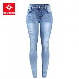 2096 Youaxon klasyczne jeansy w stylu distressed kobiety średnio wysoka talia rozciągliwe zgrywanie prawdziwe spodnie dżinsowe o
