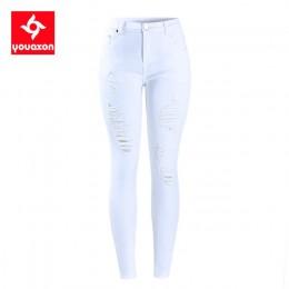 2067 Youaxon ue rozmiar biały Distressed Curvy Jeans damskie średnio wysokie talii Stretch spodnie dżinsowe zgrywanie obcisłe dż