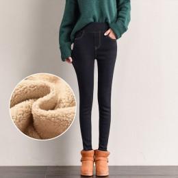 Ocieplane dżinsy dla kobiet wysokiej talii Plus rozmiar aksamitne kaszmirowe grube dżinsy dla mamy zimowe Jean Femme 2019 Skinny