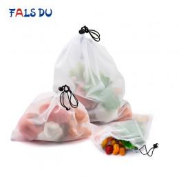 Wielokrotnego użytku siatki warzywne torby z siatki zmywalne torby przyjazne dla środowiska na zakupy spożywcze przechowywanie z