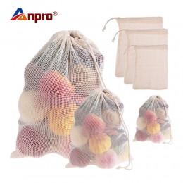 Anpro 1x owoce warzywa torby bawełniane zmywalne wielokrotnego użytku produkują przechowywanie w kuchni siatkowa torba ze sznurk
