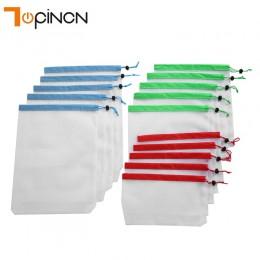 15 sztuk 3 rozmiary siatka wielokrotnego użytku produkować torby siatka do prania torby na uchwyt do torby na zakupy etui owoców