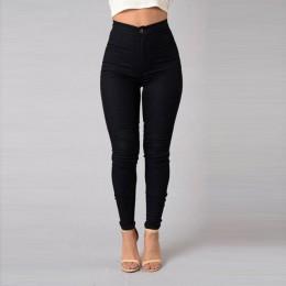 Jednokolorowy cienki dżinsy kobieta biały czarny wysokiej talii renderowania dżinsy Vintage Sexy długie spodnie Femme spodnie oł