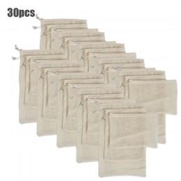 30 sztuk 15 sztuk wielokrotnego użytku torby z siatki z organicznej bawełny zmywalne worki siatkowe dla robienia zakupów spożywc