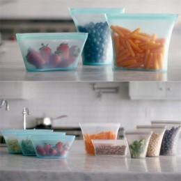 Pojemnik silikonowy na żywnosć pojemniki zestaw świeża miska worek termiczny wielokrotnego użytku Stand Up zamki zamknięte torby