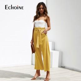 Z lnu i bawełny w stylu Casual kobiety wysokiej talii spodnie szerokie nogawki lato jesień biuro zespół luźne spodnie palazzo ko