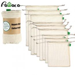 9 sztuk/zestaw Premium Organic Cotton Mesh torby z siatki wielokrotnego użytku zmywalny przechowywania sznurkiem torba na zakupy
