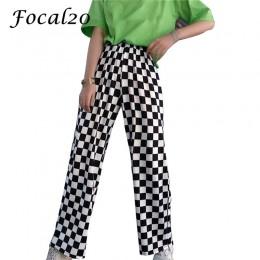 Focal20 Streetwear Plaid damskie spodnie w pasie pełnej długości w kratkę czarno-białe dorywczo luźne proste spodnie