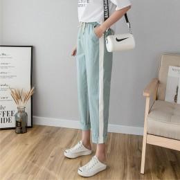 Bawełniane lniane spodnie do kostek damskie wiosenne letnie spodnie typu Casual spodnie ołówkowe w stylu Casual pasiaste damskie