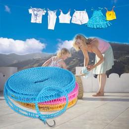 Antypoślizgowe wiatroszczelna wieszak podróży chowany liny sznurek na pranie na zewnątrz Camping suszenia wieszak na ubrania wie