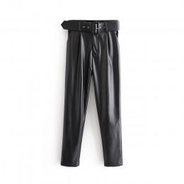 Aachoae kobiety elegancki czarny PU spodnie ze sztucznej skóry moda wysokiej talii kieszenie damskie spodnie biurowe z paskiem w