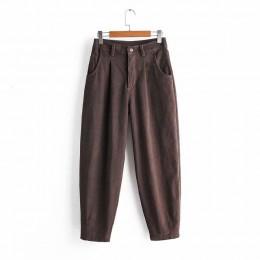 Spodnie sztruksowe 2019 jesienne zimowe spodnie haremowe damskie luźne spodnie Pantalones Mujer Streetwear