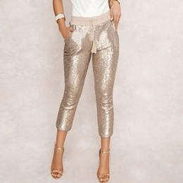 Modne cekiny ołówkowe spodnie 2020 nowe gorące solidne czarne/złote kobiety ściągany sznurkiem w pasie Bling Party klub nocny sp