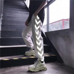 HOUZHOU odblaskowe spodnie damskie Harajuku Hip Hop miłośnicy haremu spodnie Jogger Mujer moda Streetwear spodnie dresowe luźne