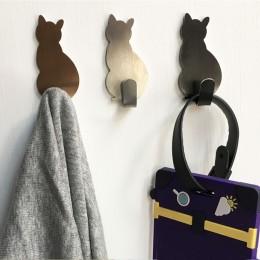 2 sztuk samoprzylepne haki ścienne wzór kota wieszaki do łazienki kuchnia trzymać na ścianie do powieszenia na drzwi ubrania wie