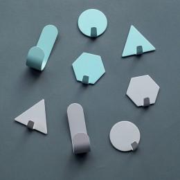 4 sztuk kreatywny z darmowym przepychaczem hak ścienny z kutego żelaza mały haczyk dekoracja geometria Mini drzwi mocne naklejan