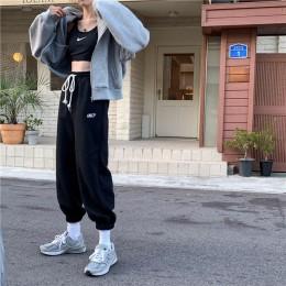 EACHIN damskie sportowe sznurkiem spodnie do joggingu zimowe ciepłe luźne spodnie sportowe kobiece modne spodnie casualowe w sty