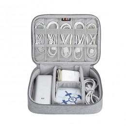 BUBM przenośna torba na kabel, cyfrowy gadżet USB organizator przewody ładowarka kosmetyczka z zamkiem błyskawicznym Power Bank