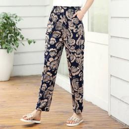 22 kolory 2019 kobiet letnie spodnie ołówkowe na co dzień XL-5XL Plus rozmiar spodnie z wysokim stanem drukowane w pasie spodnie