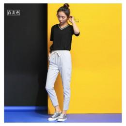 Najnowsza szykowna rozrywka bawełniana pościel długie spodnie damskie elastyczne kieszenie w pasie luźne spodnie Plus rozmiar 2X
