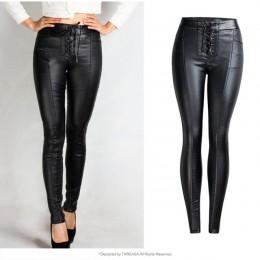 2020 Winter Stretch PU spodnie skórzane dla kobiet wysokiej talii biegaczy kobiet spodnie Plus rozmiar ołówek Skinny zwężone spo