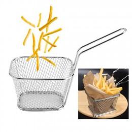 1PC stal nierdzewna metalowy kosz porcja prezentacja żywności narzędzia kuchenne frytki kosz Mini Fry przechowywanie kuchnia agd