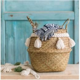 Trawa morska biały kosz do dekoracji kosz na pranie tkany kosz kosz upominkowy ręcznie robiony pompon wazon