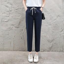 Marka elegancka, luźna bawełna lniane spodnie damskie miękkie spodnie Harem oddychające szczupłe spodnie do kostek wygodny w kor