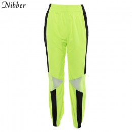 Nibber 2019 wiosna moda Neon zielone spodnie damskie luźne dorywczo proste spodnie hot wysokiej talii aktywne streetwear szeroki