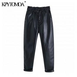 Vintage stylowe Faux Leather wysokiej zwężone spodnie Harem kobiet 2020 moda elastyczna Paperbag talii kieszenie kobiet PU spodn