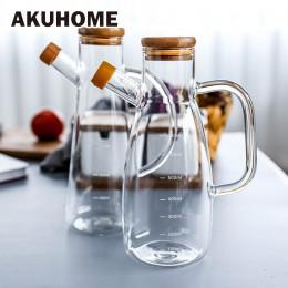 Przezroczysta szklana butelka z uchwytem na olej skala żaroodporna Lecythus narzędzia kuchenne ocet sojowy pojemnikiem na sos