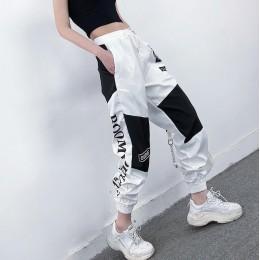 Wysokiej talii list łączone spodnie Cargo kobiety luźne Harajuku BF kostki kombinezony spodnie Plus rozmiar Hip Hop damskie spod