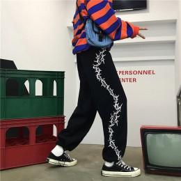 Spodnie harajuku damskie Thorny Print sznurkiem spodnie do biegania wiosna jesień dorywczo luźne spodnie damskie kobiece