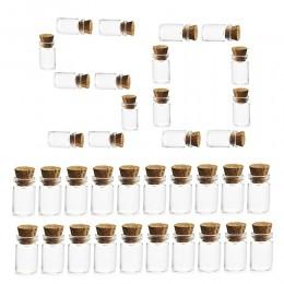 HIPSTEEN 50 sztuk 11*22MM 1ML miniaturowe szklane butelki puste buteleczki na próbki z korka korki do wyroby dekoracyjne diy