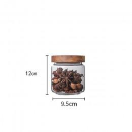 Bambusowa pokrywka szklana szczelny pojemnik butelki do przechowywania uniwersalne przyprawy schowek pyłoszczelna i odporność na