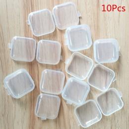 10 sztuk Mini plastikowe małe pudełko biżuteria zatyczki do uszu pudełko do przechowywania pojemnik koraliki makijaż przezroczys