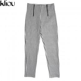 Kliou szare białe spodnie w kratę spodnie dresowe damskie spodnie w paski na co dzień bawełniane wygodne zamki spodnie z wysokim