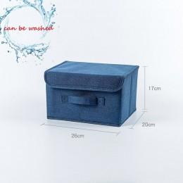Bawełniana tkanina lniana składane pudełka do przechowywania CD składane pojemniki zabawki organizator z pokrywkami i uchwytami