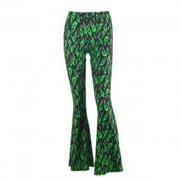 Chicology zielony nadruk ognia spodnie flare wysokiej talii bell bottom 2019 lato sexy kobiety streetwear odzież kobiece spodnie