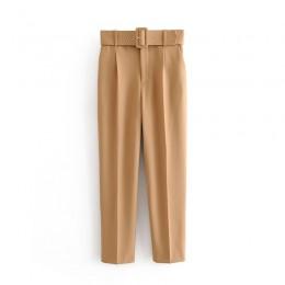 Kobiety moda jednolity kolor sashes casual obcisłe spodnie eleganckie spodnie biznesowe kobiet fałszywe zamek pantalones mujer s