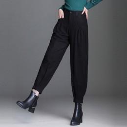 LOMAIYI ciepłe, jesienne/zimowe spodnie szerokie nogawki dla kobiet luźne szarawary damskie spodnie biurowe kobieta spodnie z wy