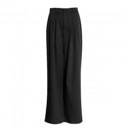 GALCAUR damskie spodnie szerokie nogawki wysokiej talii kieszeń na suwak duże rozmiary X długie spodnie wiosna kobiet 2018 moda