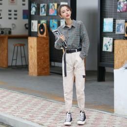 Kobiety moda Streetwear Cargo spodnie zieleń wojskowa biegaczy do kostek kobiece luźne spodnie Casual Plus rozmiar koreański sty