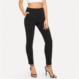 SHEIN elastyczna talia średnio wysoka talia spodnie skinny Fit jesienne biuro Lady eleganckie spodnie Slim Fit pionowe damskie o
