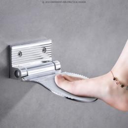 LIUYUE prysznic podnóżek ze stopu Aluminium czarne/srebrne ścienne 1pc prysznic podnóżek łazienka reszta stojak podnóżek sprzętu