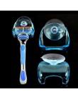 1 szt. razor storage nowe praktyczne przejrzyste niebieskie plastikowe ramki do golenia z pojemnik z przyssawką rack akcesoria ł