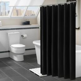Nowoczesny czarny zasłona prysznicowa wodoodporna tkanina jednokolorowe kurtyny kąpielowe do wanna do łazienki duża szeroka osło