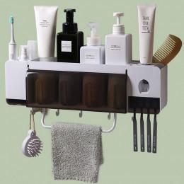 GUNOT uchwyt na szczoteczki do zębów z automatyczny dozownik pasty do zębów łazienka odporne na kurz pudełko do przechowywania c